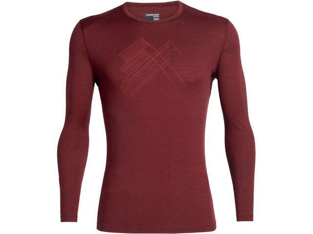 Icebreaker 200 Oasis Snap Head LS Crewe Shirt Men cabernet